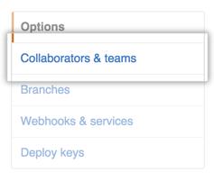 Barra lateral de configurações do repositório com destaque para Collaborators & teams (Colaboradores e equipes)