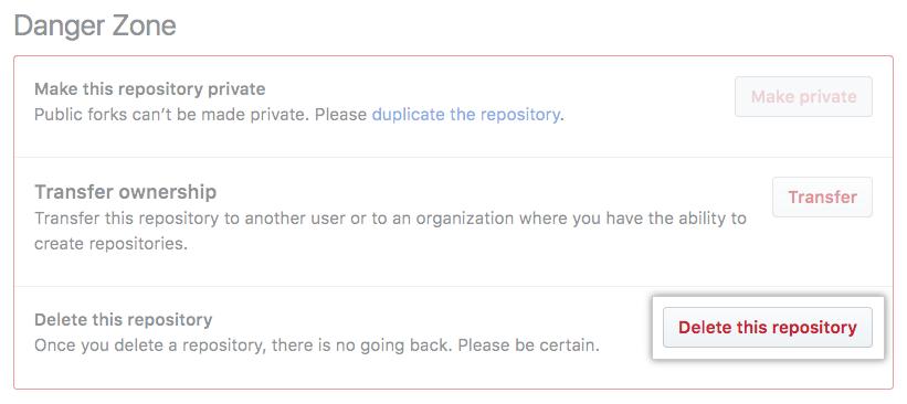 Botão Repository deletion (Exclusão de repositório)