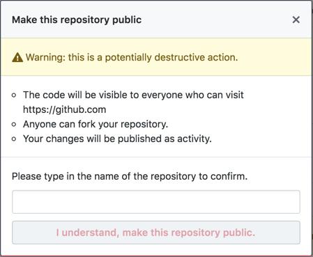 Pop-up com informações sobre converter repositório privado em público