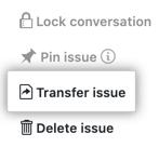 Botão para transferir problema