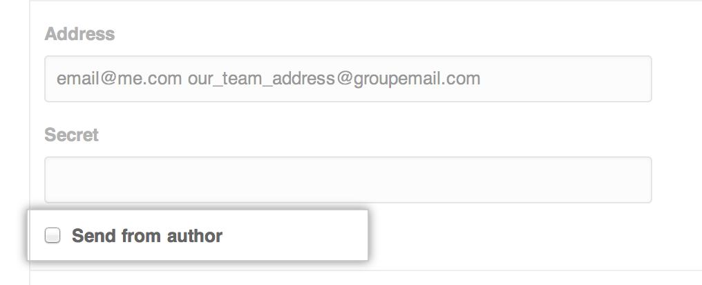 Casilla de autor del correo electrónico