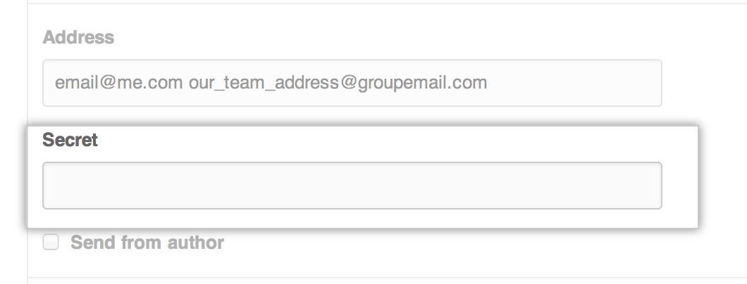 Cuadro de texto correo electrónico secreto