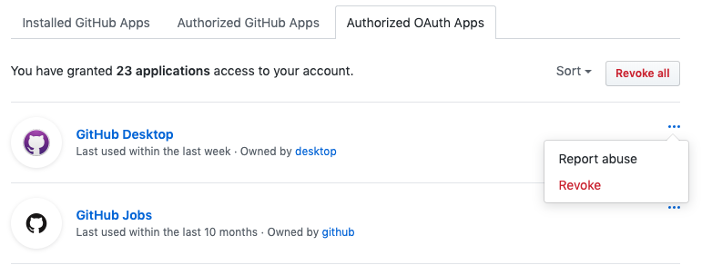 List of authorized OAuth Apps
