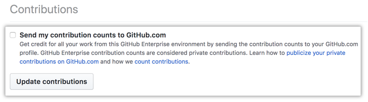 Caixa de seleção Send contributions (Enviar contribuições) e botão update contributions (atualizar contribuições)