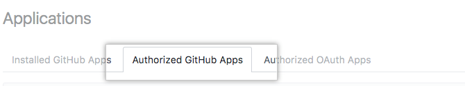 Authorized GitHub Apps tab