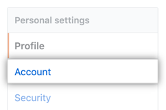Account settings menu option