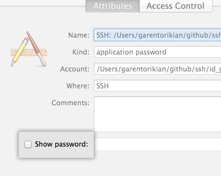 Diálogo Keychain access (Acceso keychain)