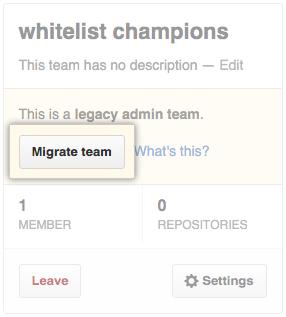 Migrate team button