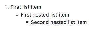 Lista com dois níveis de itens aninhados