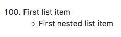 Lista com um item de lista aninhada