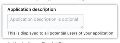 Campo para la descripción de tu app