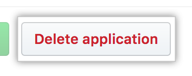 Button to delete the application