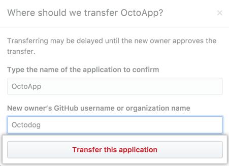 Botão para transferir o aplicativo