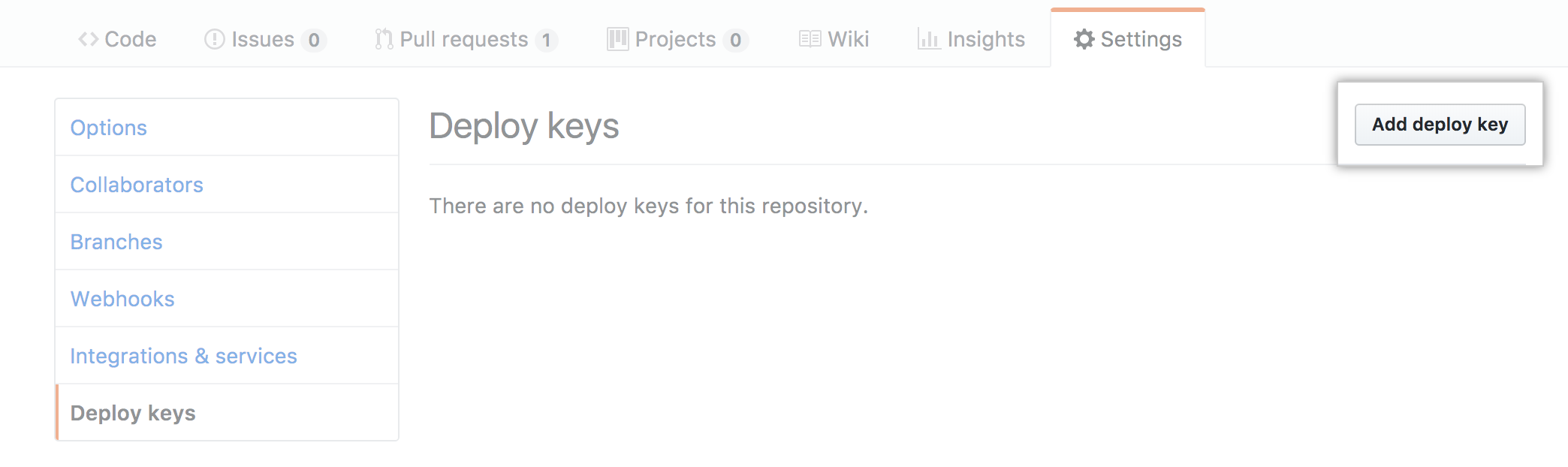 Add Deploy Keys link