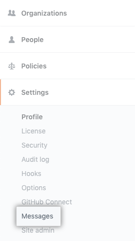 Messages tab in the enterprise settings sidebar