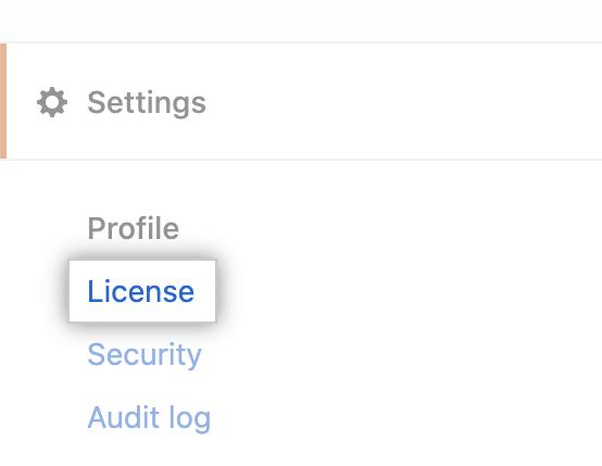 """Aba """"Licença"""" na barra lateral de configurações da conta corporativa"""