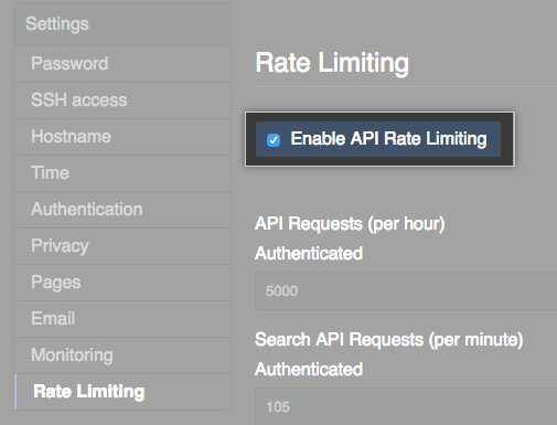 API レート制限を有効にするためのチェックボックス