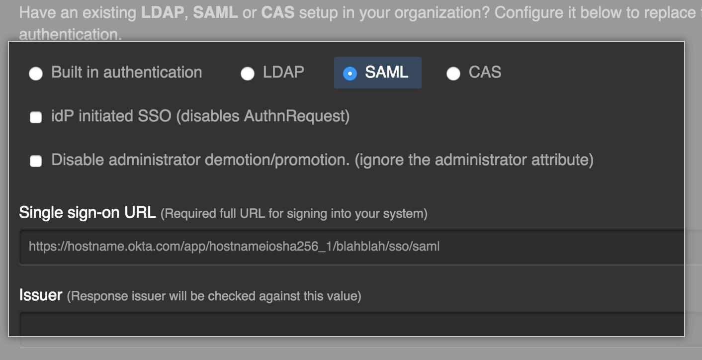 SAML 身份验证