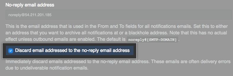 用于丢弃发送到无回复电子邮件地址的电子邮件的复选框