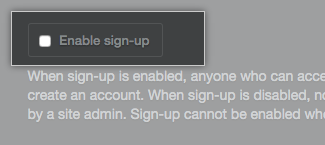 Caixa de seleção Enable sign-up (Habilitar assinatura)