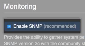 Botão para habilitar o SNMP