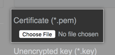 Button to find TLS certificate file