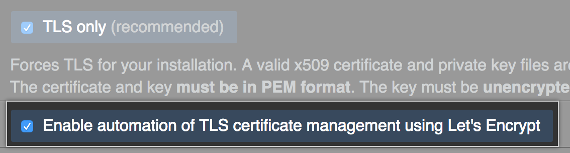 Checkbox to enable Let's Encrypt