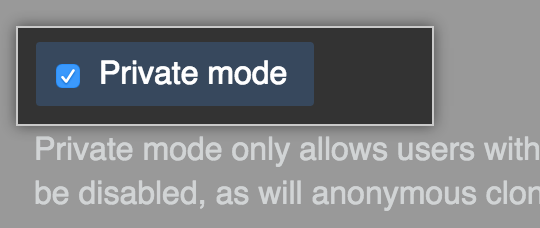 Checkbox for enabling private mode