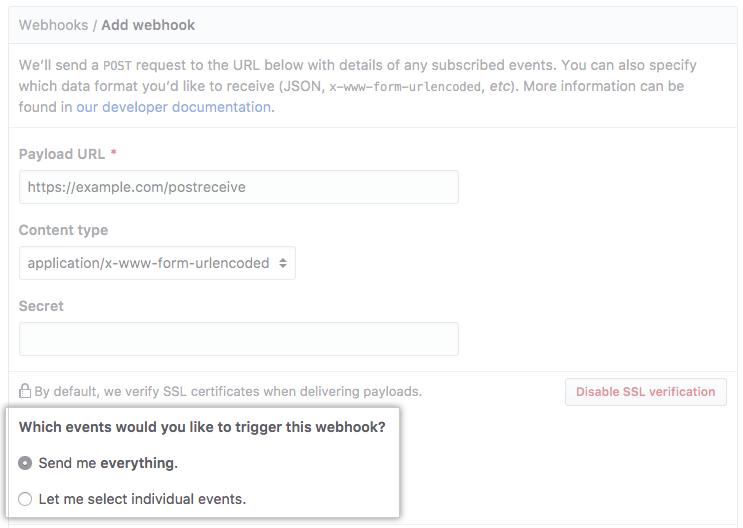 Botones de selección con opciones para recibir cargas para cada evento o eventos seleccionados
