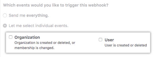 Checkboxes for organization and user events