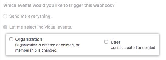 Casillas de verificación para eventos de usuario y de organización