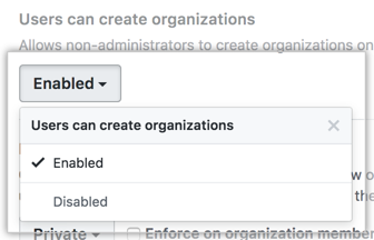 Desplegable Los usuarios pueden crear organizaciones