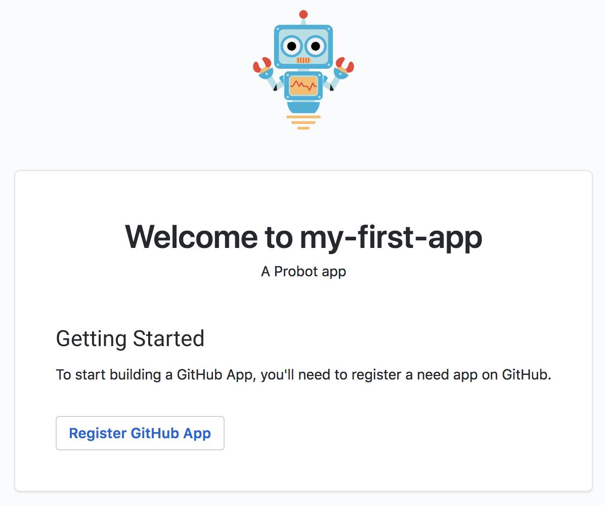Registrar um aplicativo GitHub do Probot