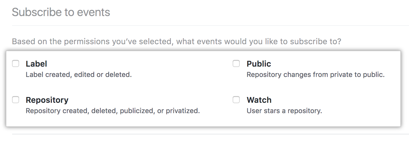 Subscribe to events options for your GitHub App