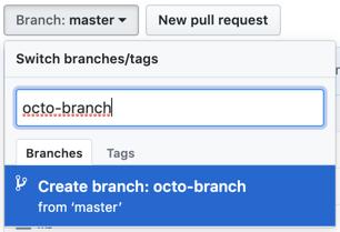 caixa de texto de criação de branch