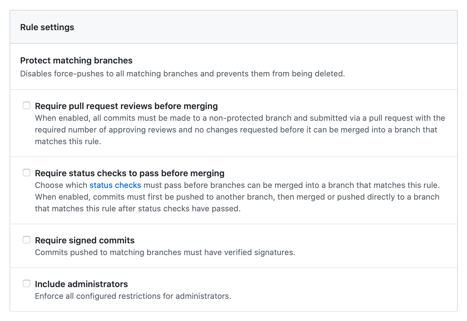 Protected branch rule settings