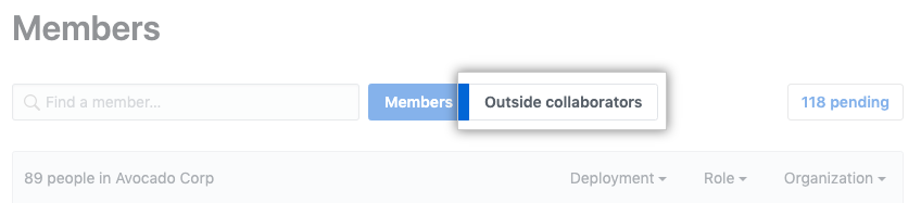 组织成员页面上的外部协作者选项卡