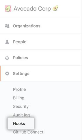 Hooks tab in the enterprise account settings sidebar