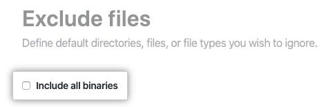 Casilla de verificación para incluir todos los binarios