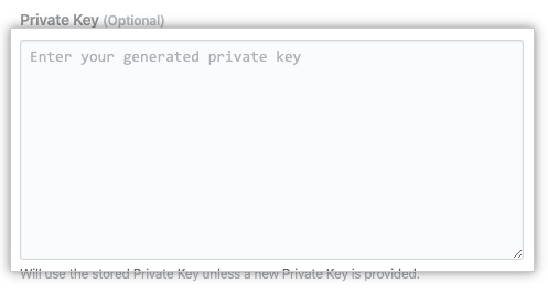 Campo de llave privada