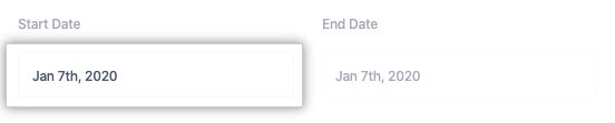 Start Date drop-down menu