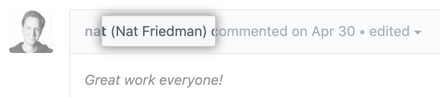 Commenter's profile name displayed in comment