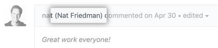 Nome de perfil do autor do comentário exibido no comentário