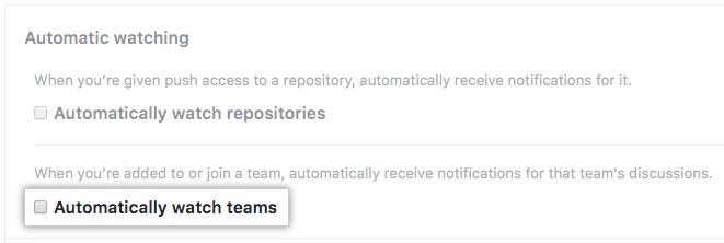 自动关注团队的复选框