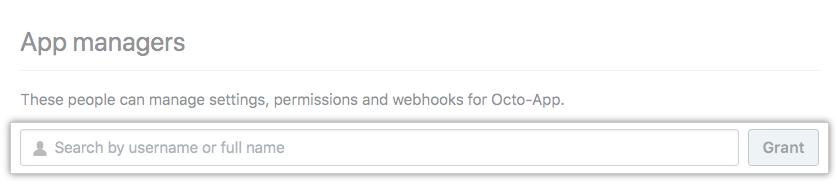 Adicionar um gerente do aplicativo GitHub para um app específico