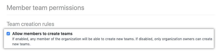 Caixa de seleção para permitir que integrantes criem equipes