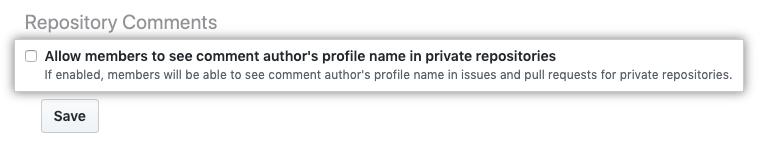 プライベートリポジトリ内で、コメント作者のフルネームを表示することをメンバーに許可するためのチェックボックス