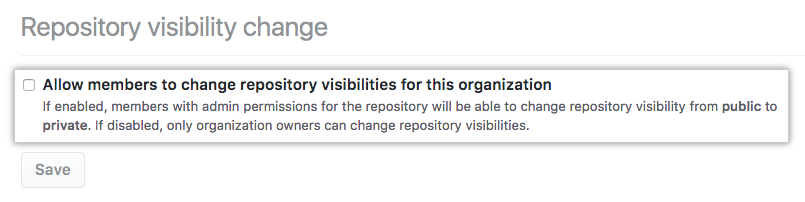 Checkbox to allow members to change repository visibility