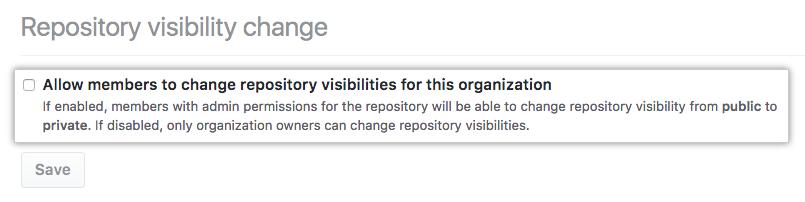 リポジトリ可視性変更をメンバーに許可するチェックボックス