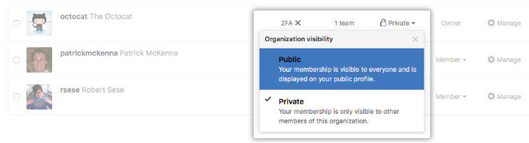 Organization メンバーの可視性リンク